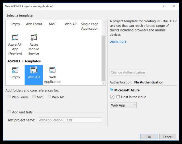 ASPNET5 Web Project Templates